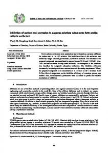 Inhibition of carbon steel corrosion in aqueous solutions using some ...