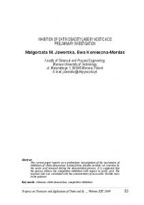 INHIBITION OF CHITIN DEACETYLASE BY ACETIC ACID ...