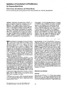 Inhibition of Endothelial Cell Proliferation by Gamma-Interferon