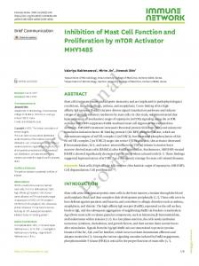 Inhibition of Mast Cell Function and Proliferation by