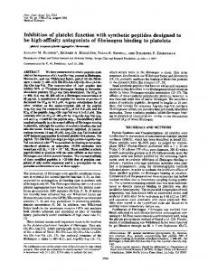 Inhibition of platelet function with synthetic peptides designed to be ...