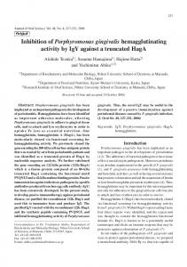 Inhibition of Porphyromonas gingivalis hemagglutinating activity by ...