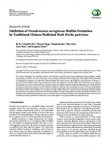 Inhibition of Pseudomonas aeruginosa Biofilm Formation by ...