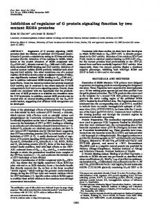 Inhibition of regulator of G protein signaling function by two mutant ...