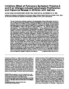 Inhibitory Effect of Pulmonary Surfactant Proteins A and ... - ATS Journals