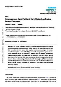 Inhomogeneous Dark Fluid and Dark Matter, Leading to a ... - arXiv