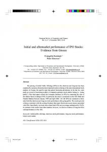 Initial and aftermarket performance of IPO Stocks