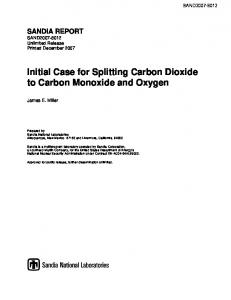 Initial Case for Splitting Carbon Dioxide to Carbon Monoxide and ...
