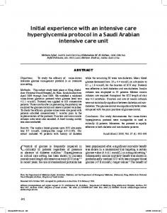 Initial experience with an intensive care hyperglycemia protocol in a ...