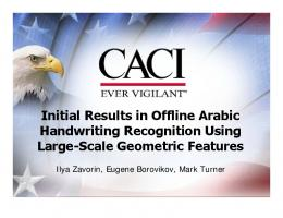 Initial Results in Offline Arabic Handwriting Recognition Using ... - LAMP