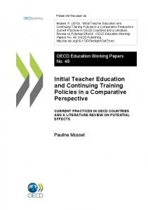 Initial Teacher Education and Continuing Training Policies in a ... - Eric
