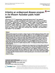 Initiating an undiagnosed diseases program in the Western Australian ...