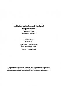 Initiation au traitement du signal et applications Notes de cours