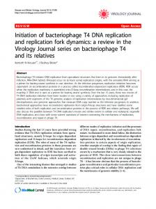Initiation of bacteriophage T4 DNA replication and replication fork ...