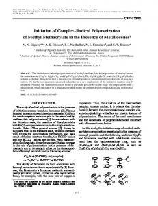 Initiation of Complex Radical Polymerization of Methyl ... - Springer Link