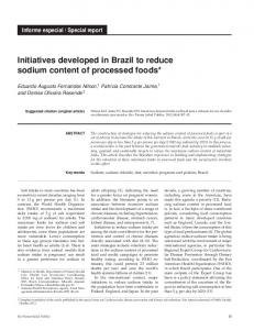 Initiatives developed in Brazil to reduce sodium content of processed ...