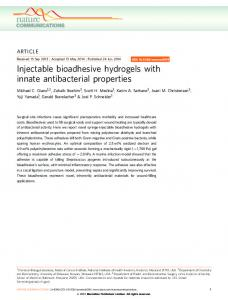 Injectable bioadhesive hydrogels with innate antibacterial ... - Nature