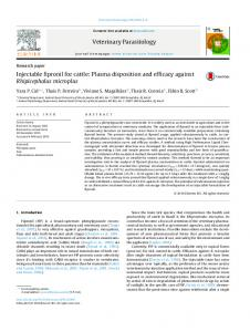 Injectable fipronil for cattle: Plasma disposition and efficacy ... - Core