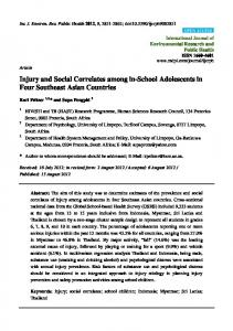 Injury and Social Correlates among in-School Adolescents in ... - MDPI