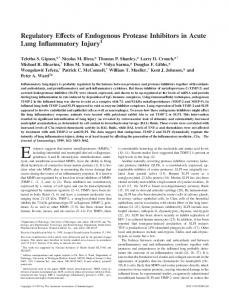 Injury Inhibitors in Acute Lung Inflammatory ... - Semantic Scholar