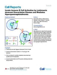 Innate Immune B Cell Activation by Leishmania donovani ... - Cell Press