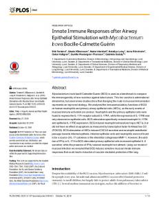 Innate Immune Responses after Airway Epithelial Stimulation ... - PLOS