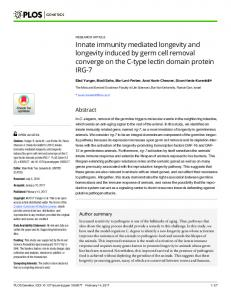 Innate immunity mediated longevity and longevity induced by ... - Plos