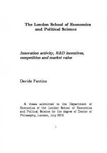 Innovation activity, R&D incentives, competition ... - LSE Theses Online