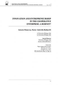 innovation and entrepreneurship in the cooperative enterprise
