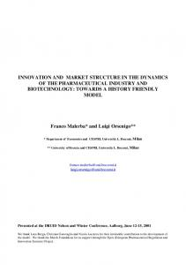 innovation and market structure in the dynamics of the ... - CiteSeerX