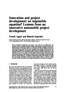 Innovation and project development - Wiley Online Library