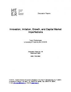 Innovation, Imitation, Growth, and Capital Market ... - CiteSeerX