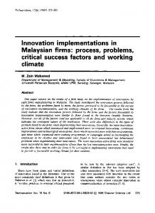Innovation implementations in Malaysian firms - Science Direct