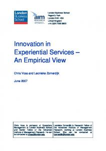 Innovation in Experiential Services - I imagine Strategy