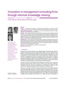 Innovation in management consulting firms through ... - CiteSeerX