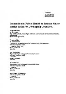 Innovation in Public Health to Reduce Major Health Risks for
