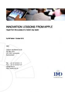 INNOVATION LESSONS FROM APPLE - IMD