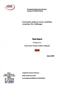Innovation policy in seven candidate countries ... - Cordis - Europa EU