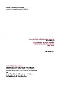 Innovation Policy in Six Candidate Countries: the ... - Cordis - Europa EU