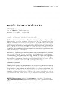 Innovation, tourism and social networks