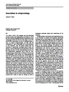 Innovations in coloproctology