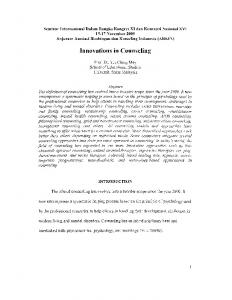 Innovations in Counseling - USM Research and Publication