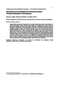 Innovations in Key Management Protocols for Secure Wireless ...