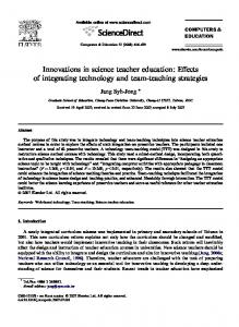 Innovations in science teacher education: Effects of integrating ...