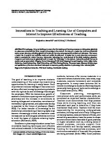 Innovations in Teaching and Learning: Use of