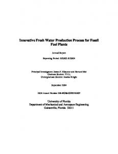 Innovative Fresh Water Production Process for Fossil Fuel Plants