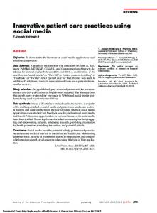 Innovative patient care practices using social media