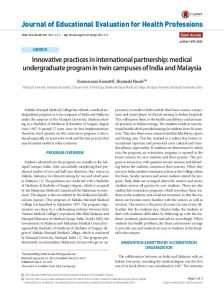 Innovative practices in international partnership: medical ...