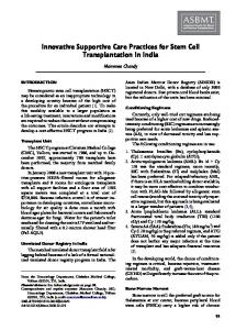 Innovative Supportive Care Practices for Stem Cell Transplantation in ...