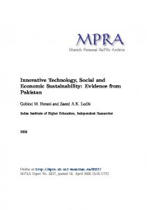 Innovative Technology, Social and Economic Sustainability: Evidence